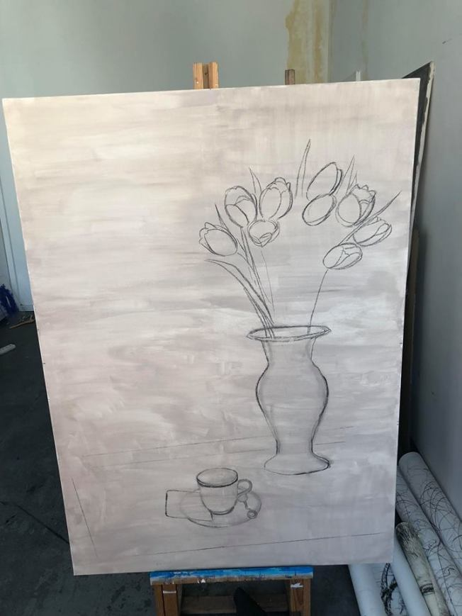 The sketch on the canvas